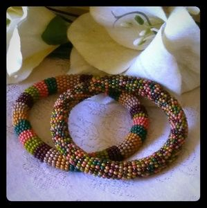 Jewelry - Vintage Multi-colored Seed Bead Flexible Bracelets